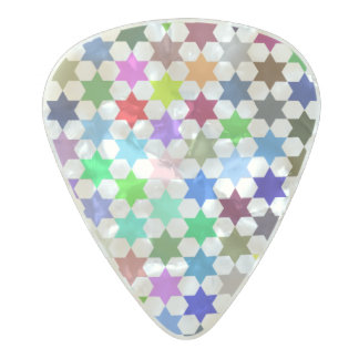 Vibrant color illustrated stars pattern pearl celluloid guitar pick