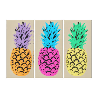 Vibrant Color Pineapples Canvas Print