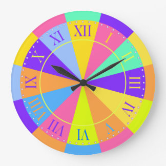 Vibrant Color Wheel Big Roman Numerals Large Clock