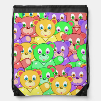 Vibrant colored Teddy Bears Cinch Bag