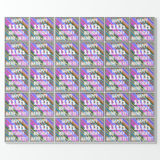 Vibrant, Colorful 11th Birthday + Custom Name Wrapping Paper