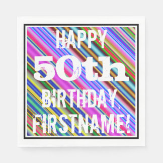 Vibrant, Colorful 50th Birthday + Custom Name Paper Napkin
