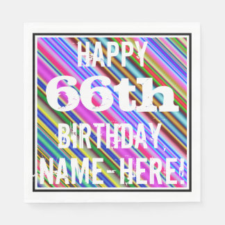 Vibrant, Colorful 66th Birthday + Custom Name Napkin