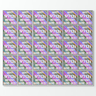 Vibrant, Colorful 97th Birthday + Custom Name Wrapping Paper