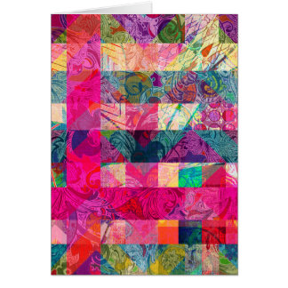Vibrant Colorful Abstract Pink Plaid Funky Pattern Card