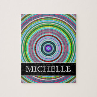 Vibrant Colorful Circles/Rings Pattern + Name Jigsaw Puzzle