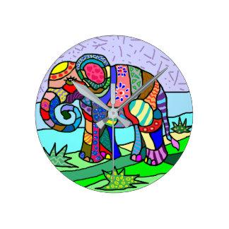 Vibrant colorful folk art abstract elephant round clock