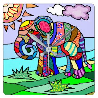 Vibrant colorful folk art abstract elephant square wall clock