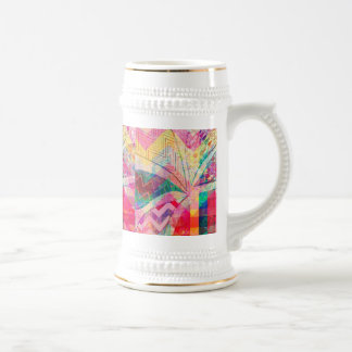 Vibrant Colorful Funky Abstract Girly Butterfly Ch Beer Steins