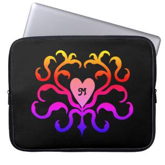 Vibrant colorful heart motif computer sleeve