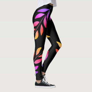 Vibrant colorful leaves leggings