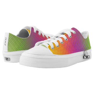 Vibrant Colorful Linear Pattern Canvas Shoes