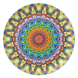 Vibrant Colorful Mandala Party Plate