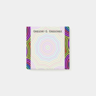 Vibrant, Colorful Spiderweb-Like Pattern + Name Post-it Notes