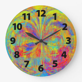 Vibrant Colors Abstract Art Design Large Clock