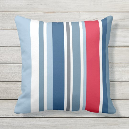 Vibrant coloured stripe pattern outdoor pillow