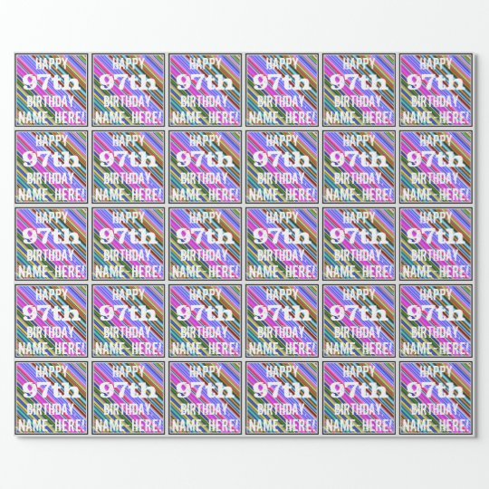 Vibrant, Colourful 97th Birthday + Custom Name Wrapping Paper