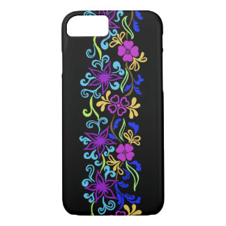 Vibrant, colourful flowers with leaves and swirls iPhone 7 case