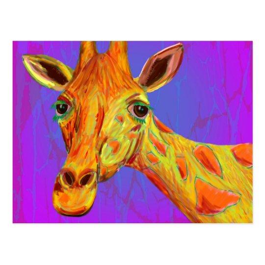 Vibrant Colourful Giraffe in Orange and Yellow Postcard