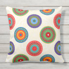Vibrant Colourful Summer Mandala Double Sided Outdoor Pillow