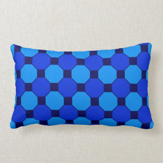 Vibrant Cool Blue Squares Hexagons Tile Pattern Throw Pillow