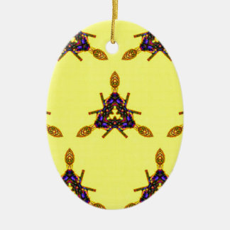 Vibrant Cool Funky Yellow Seamless Pattern Ceramic Oval Ornament