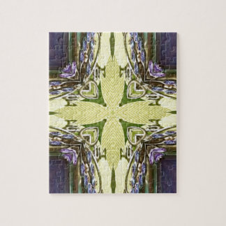 Vibrant Cool Purple Yellow Abstract Cross Puzzle