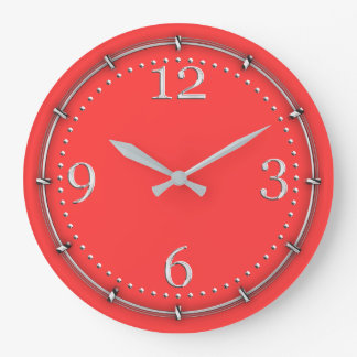 Vibrant Coral Color Decor on a Large Clock