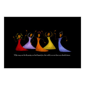 Vibrant Dancing Ladies Textured Collage Poster