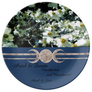 Vibrant Dogwood Triple Moon Handfasting Porcelain Plates