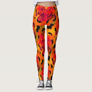 Vibrant Dotted Orange Roses Leggings
