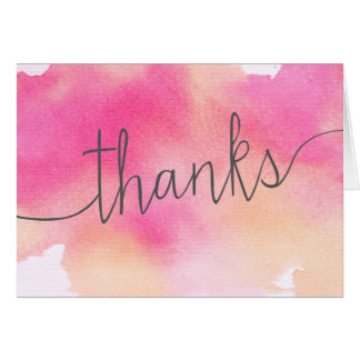 Vibrant Dreams Thank You Note Card / Pink Peach
