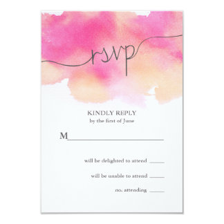 Vibrant Dreams Wedding RSVP Card / Pink & Peach