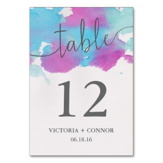Vibrant Dreams Wedding Table Number Card