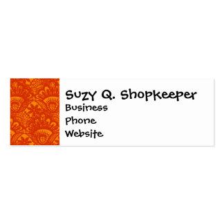Vibrant Elegant Orange Damask Lace Girly Pattern Business Cards