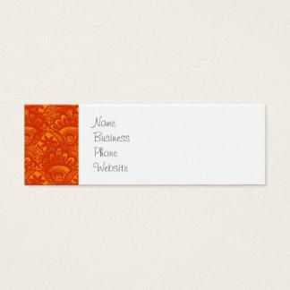 Vibrant Elegant Orange Damask Lace Girly Pattern Mini Business Card