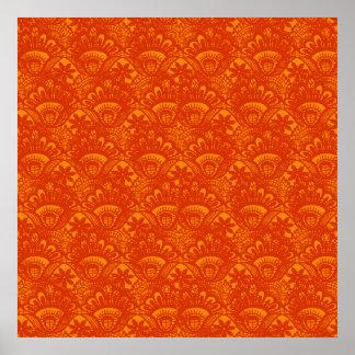 Vibrant Elegant Orange Damask Lace Girly Pattern Poster