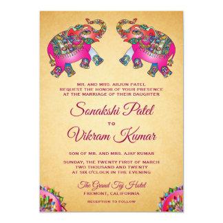 Vibrant Ethnic Elephants Indian Wedding Invitation