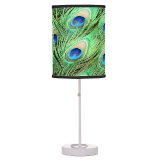Vibrant Exotic Peacock Feathers Desk Lamp