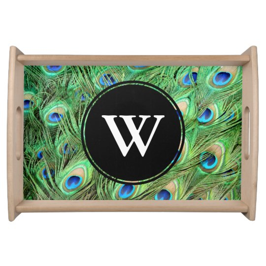 Vibrant Exotic Peacock Feathers Initial Letter Serving Platter