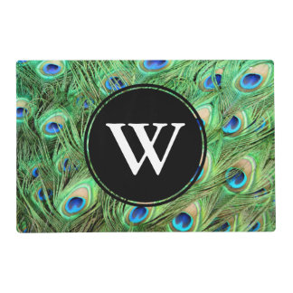 Vibrant Exotic Peacock Feathers White Letter Laminated Place Mat
