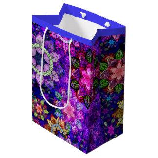Vibrant Exploding Watercolor Mandalas - Medium Medium Gift Bag