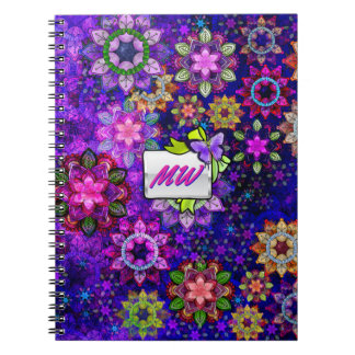 Vibrant Exploding Watercolor Mandalas Monogrammed Note Book