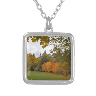 Vibrant Fall Colors in Oregon City Park Silver Plated Necklace