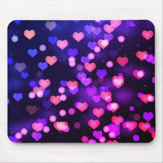 Vibrant falling hearts love mouse pad