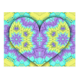 Vibrant Festive Multi+Colored  Heart Shape Postcard