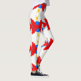 Vibrant Festive Multi+colored Tribal Pattern Leggings
