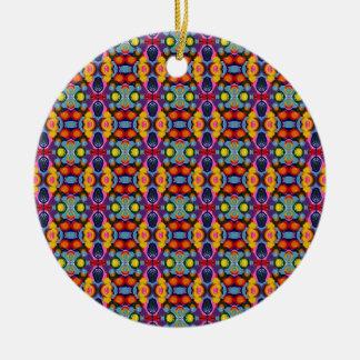 Vibrant Festive Tiny Circles of Color Round Ceramic Ornament