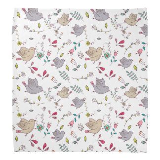 Vibrant Floral and Bird Patterns Bandanna