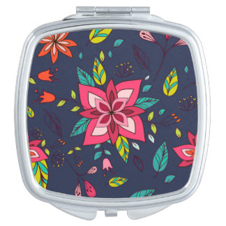 Vibrant Floral and Bird Patterns Vanity Mirror